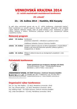 III. cirkulář - Centrum Veronica Hostětín