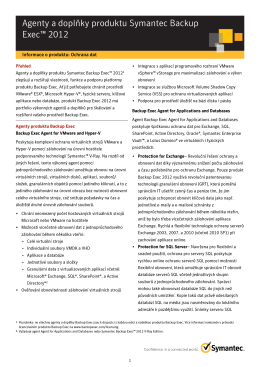 Agenty a doplňky produktu Symantec Backup Exec