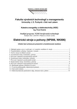 Elektrické stroje a pohony (NP006, NK006)