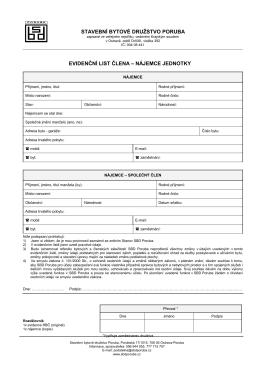 Evidenční list člena nájemce jednotky _2_