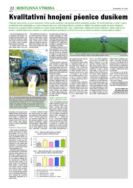 Kvalitativní hnojení pšenice dusíkem