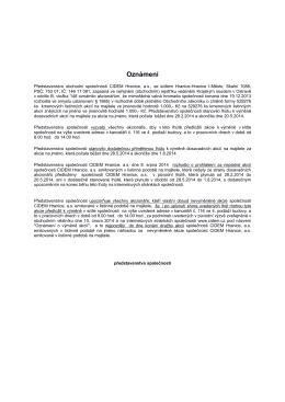 Oznámení - CIDEM Hranice, a.s.
