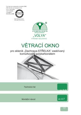 Skleník Strelka - montážní návod okna