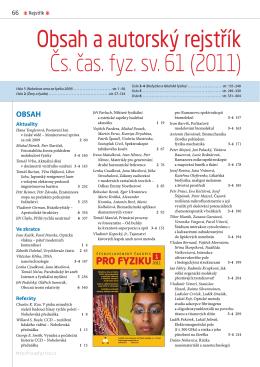 Obsah a autorský rejstřík Čs. čas. fyz. sv. 61 (2011)
