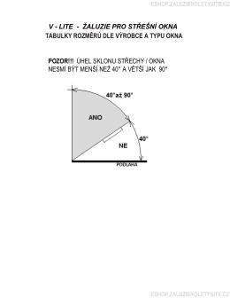 tabulky rozměrů dle výrobce a typu okna v