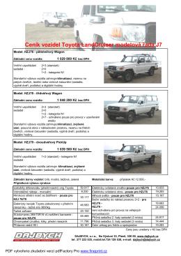 Toyota LandCruiser J7 - ceník 2012