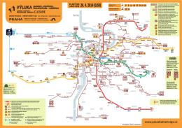 Mapa metra a tramvají - Výluka Vodičkova