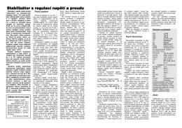 Stabilizátor s regulací napětí a proudu Stabilizátor s regulací