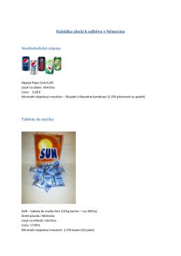 Nabídka zboží k odběru v Německu