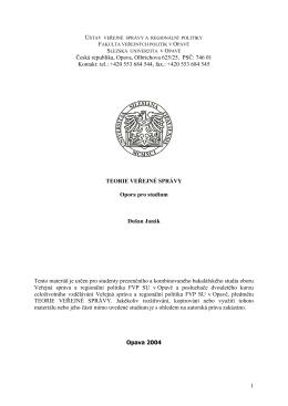 Teorie veřejné správy - eLearning FVP SU