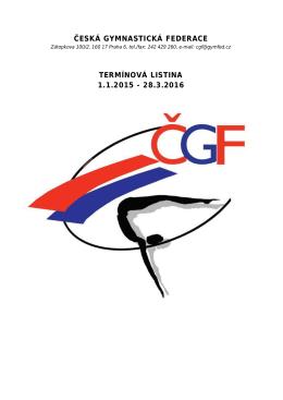 termínová listina české gymnastické federace