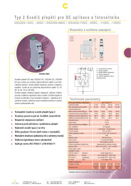 Typ 2 Svodič přepětí pro DC aplikace a fotovoltaiku