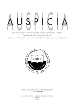 Recenzovaný časopis pro otázky společenských věd Auspicia 2008/2