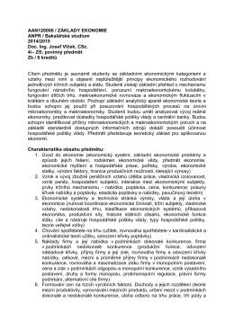 AAN120006 / ZÁKLADY EKONOMIE ANPR / Bakalářské studium