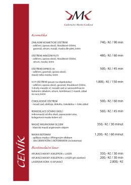 Ceník kosmetiky (PDF) - Kadeřnictví Marta Kosíková