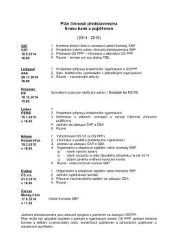 Plán činnosti představenstva