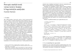 Pravopis starších textů versus textový korpus k lingvistickým analýzám