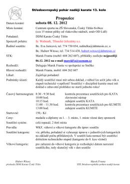 Propozice na Středoevropský pohár nadějí karate 13.kolo