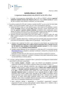 Vyhláška děkana č. 2D/2014
