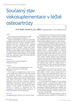 Současný stav viskosuplementace v léčbě osteoartrózy