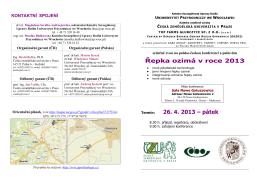 Řepka ozimá v roce 2013 26. 4. 2013 – pátek