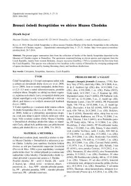 Kejval Z. 2014: Brouci čeledi Scraptiidae ve sbírce muzea Chodska