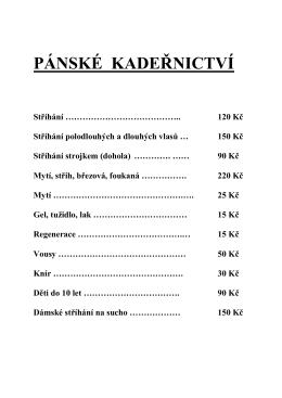 Ceník ke stažení – pdf