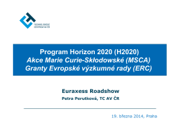 Program Horizon 2020 (H2020) Akce Marie Curie