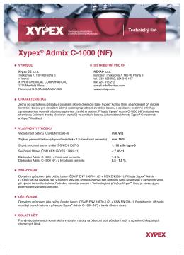 Xypex Admix - Technický list ke stažení