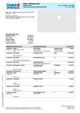 Výpis z běžného účtu