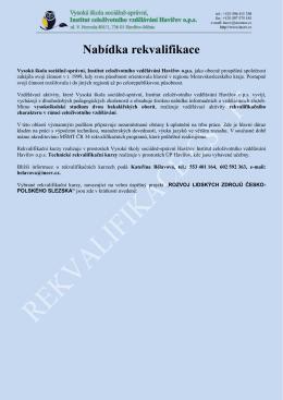 Nabídka rekvalifikace - Institut celoživotního vzdělávání, Havířov