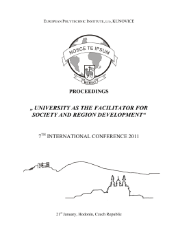 university as the facilitator for society and region development
