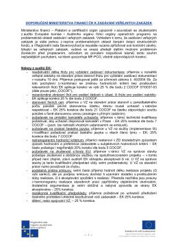 Doporučení Ministerstva financí ČR k zadávání veřejných zakázek