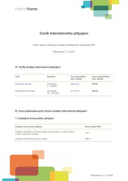 Ceník připojení k internetu platný od 1.4.2014