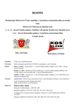 Rozpis - ORIS - Český svaz orientačních sportů