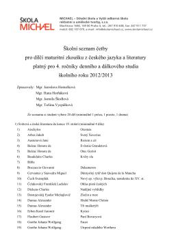 Školní seznam četby pro dílčí maturitní zkoušku z českého
