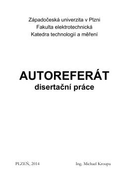autoreferát - Fakulta elektrotechnická