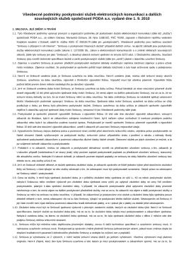 Všeobecné smluvní podmínky PODA a.s. vydané 1. září 2010