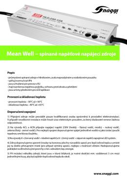 Mean Well – spínané napěťové napájecí zdroje