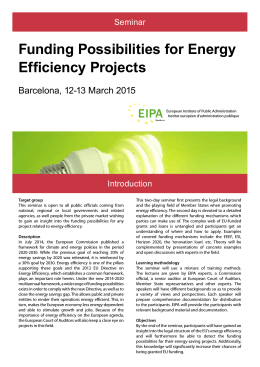 Funding Possibilities for Energy Efficiency Projects