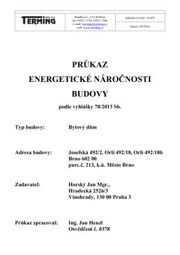 Průkaz energetické náročnosti budovy - Orlí 18 – Brno