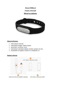 Xiaomi MiBand Chytrý náramek Návod na obsluhu