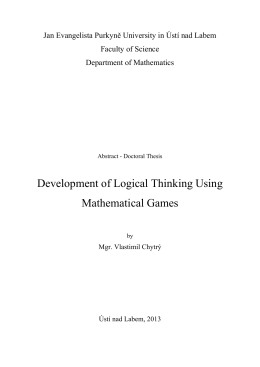 Development of Logical Thinking Using Mathematical Games