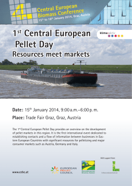 1st Central European Pellet Day Resources meet markets