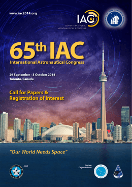 """Our World Needs Space"" Call for Papers & Registration of Interest"
