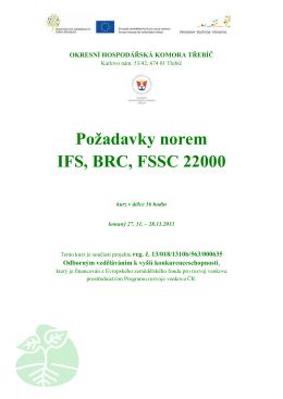 Požadavky norem IFS, BRC, FSSC 22000