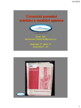 Chronické poranění menisku a resekční operace
