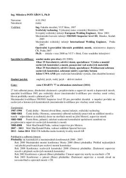 Profesní životopis - Miloslava Pošvářová
