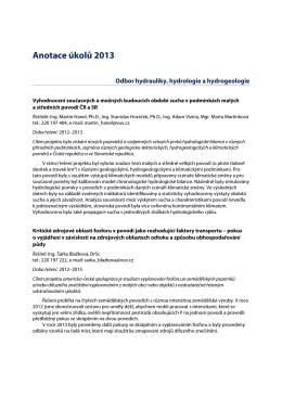 Anotace úkolů 2013 - Výzkumný ústav vodohospodářský T. G.