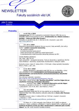 newsletter 23. 4. 2010 - Fakulta sociálních věd